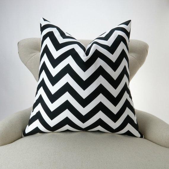 Black White Zigzag Pillow Cover -MANY SIZES- chevron ...