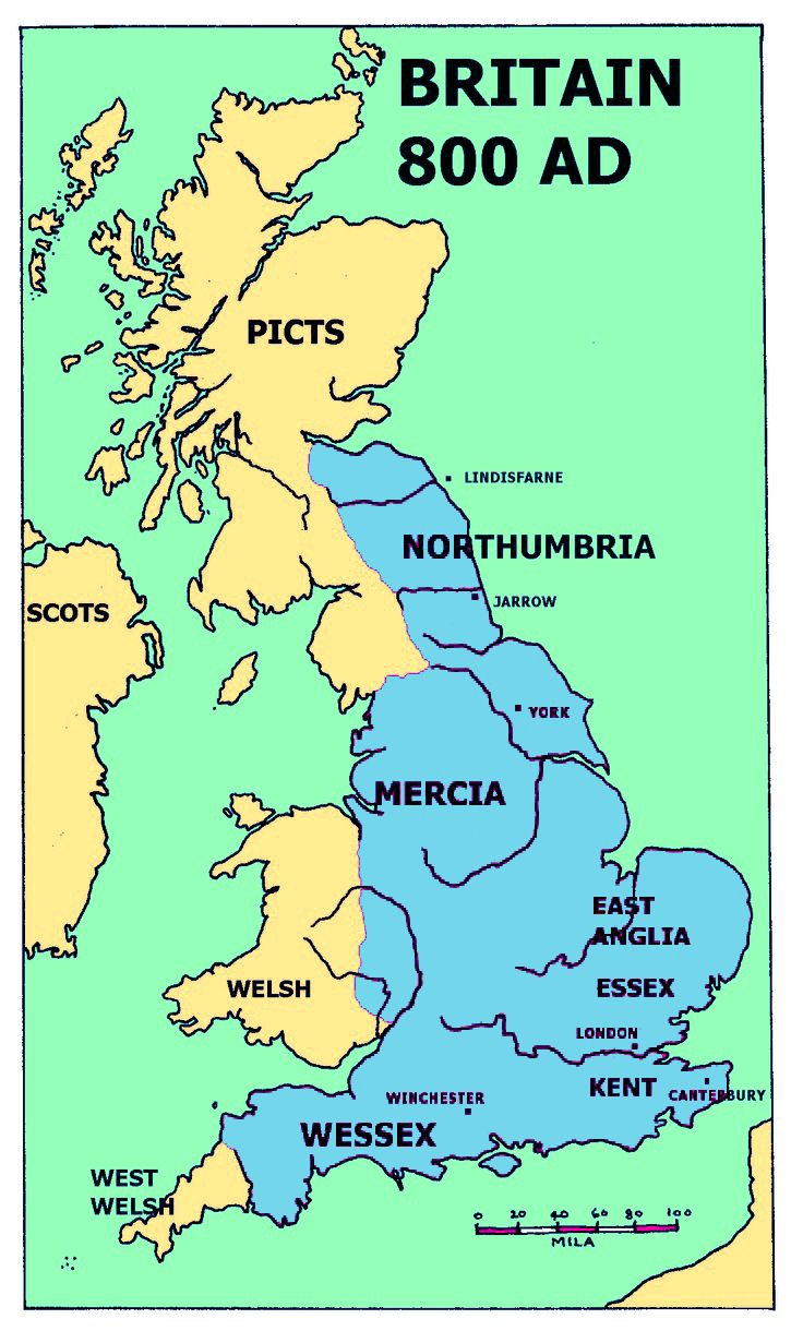 Map Of Uk 800 Ad.Britain Around 800 Ad Half A Century Before Alfred The Great