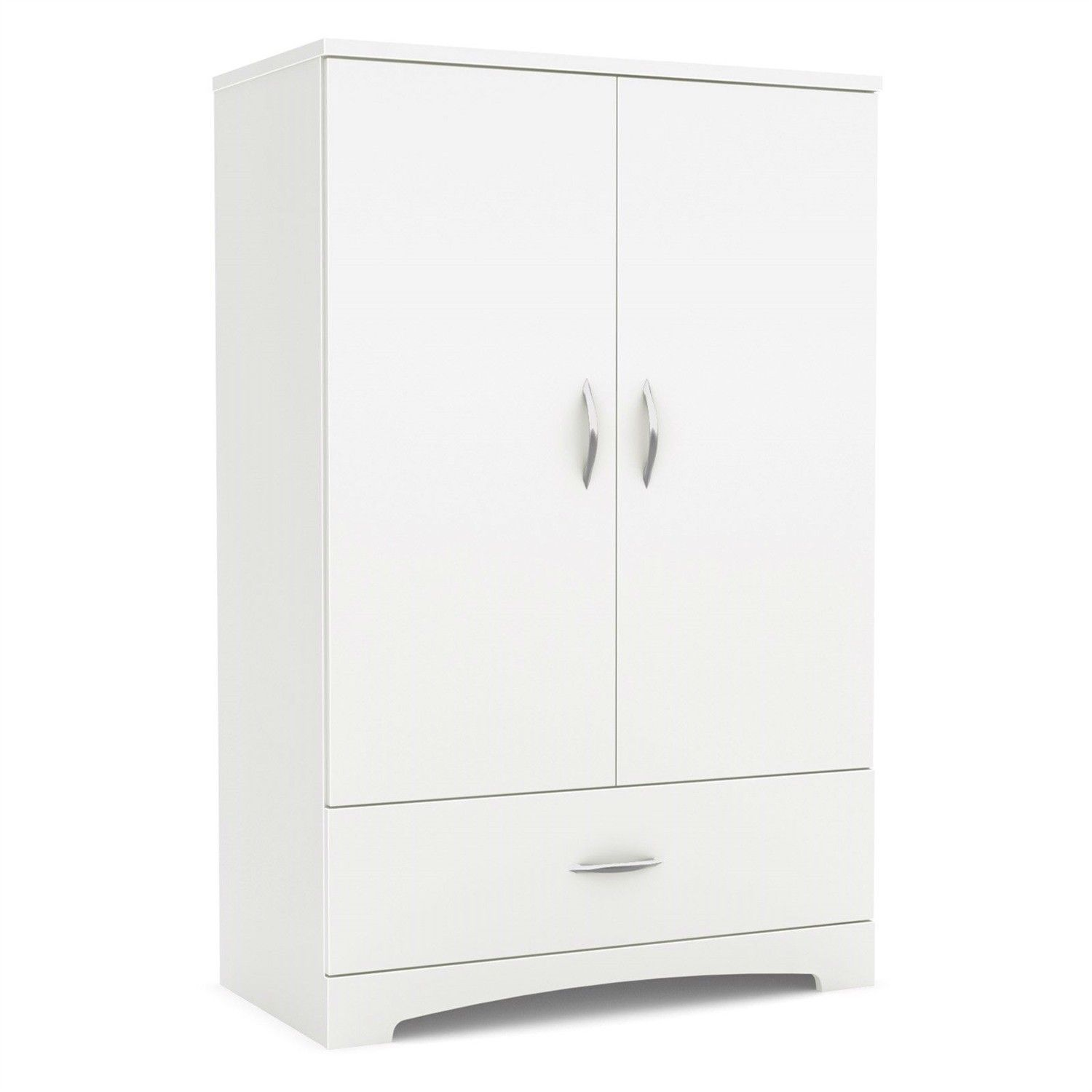 2 Door Armoire Wardrobe Cabinet With Bottom Storage Drawer In White