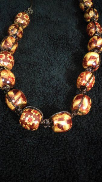 bold bead strung necklace