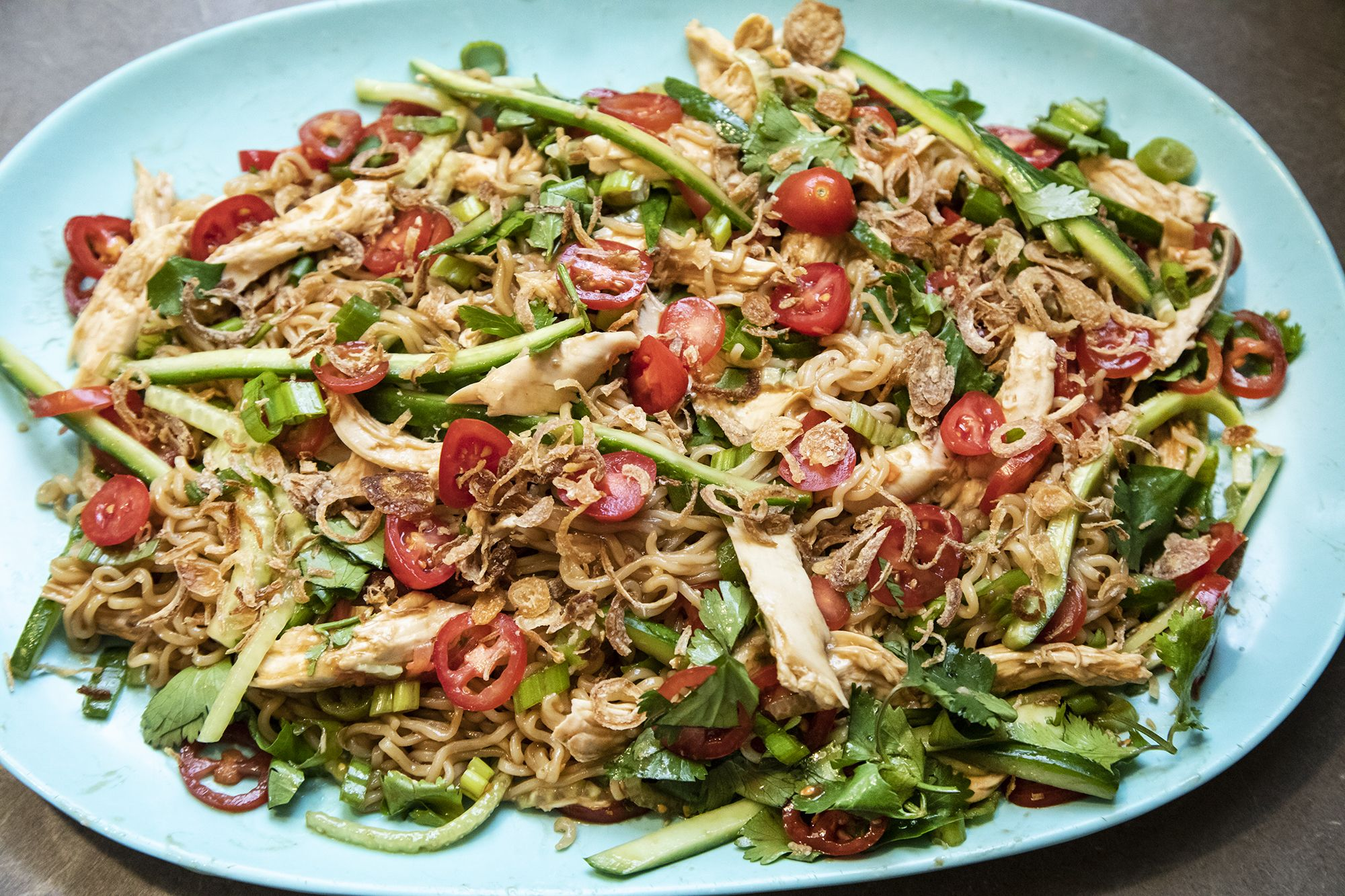 Ramen Salad with Chicken & Chili Oil a great meal for