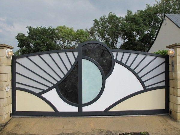 Modern-metal-garden-gates-electric-drive-sliding-gate-decorative ...