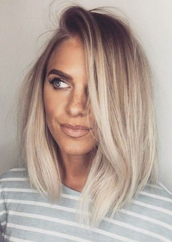 30 Straight Medium Length Hairstyles For Women To Look Attractive Straight Haircuts Middle Parted Medium Long Hair Styles Hair Styles Ash Blonde Hair Colour
