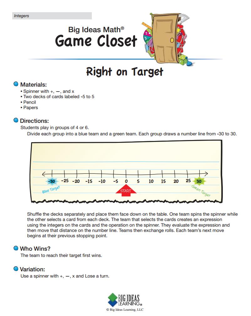 Right On Target Integers High School Math Games Big Ideas Math Math Textbook [ 1011 x 801 Pixel ]