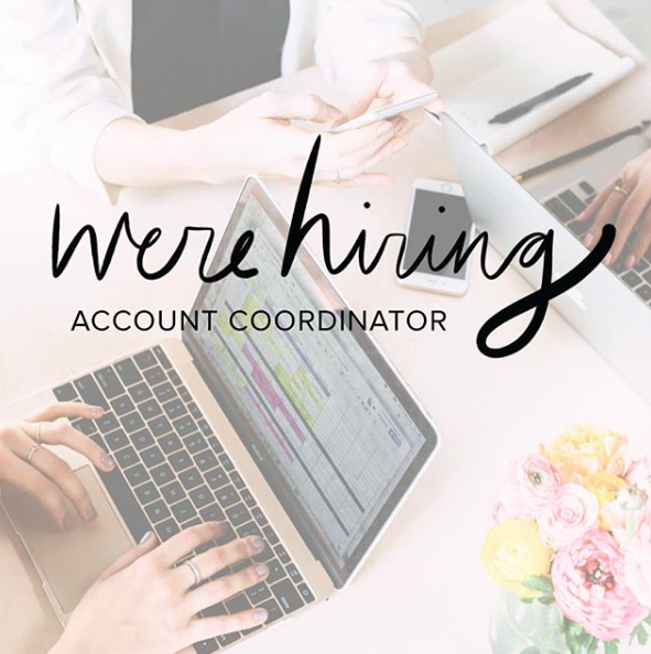 WE'RE HIRING! Now accepting applications for an Account