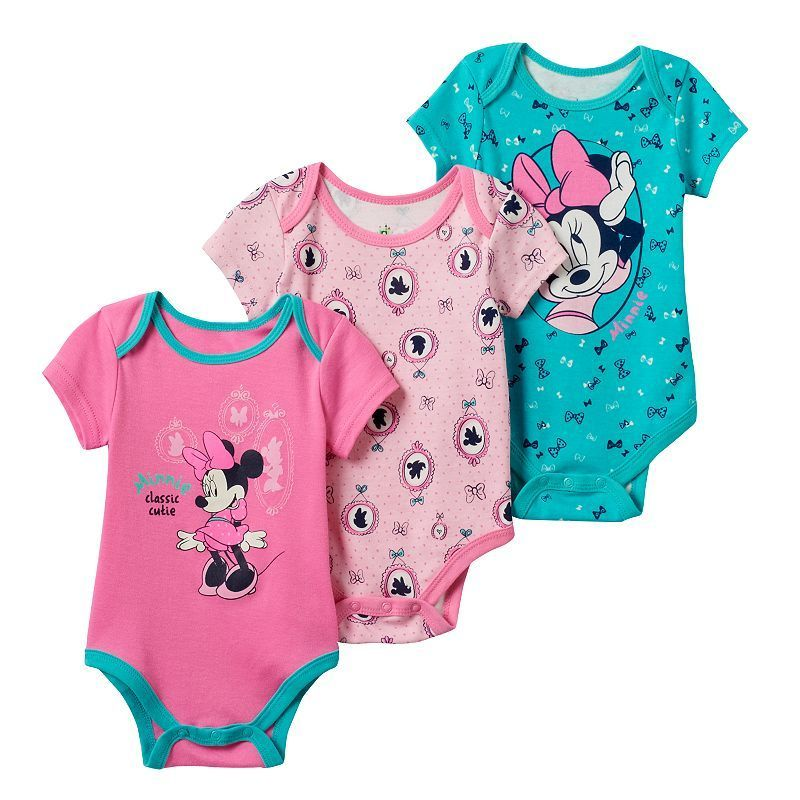 dd8fbd916 Disney's Minnie Mouse Baby Girl 3-Pk. Bodysuits, Size: 0-3 Months, Pink