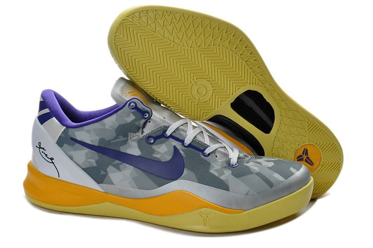 Shopping Cheap Kobe 8 System Grey Purple Yellow 555035 058