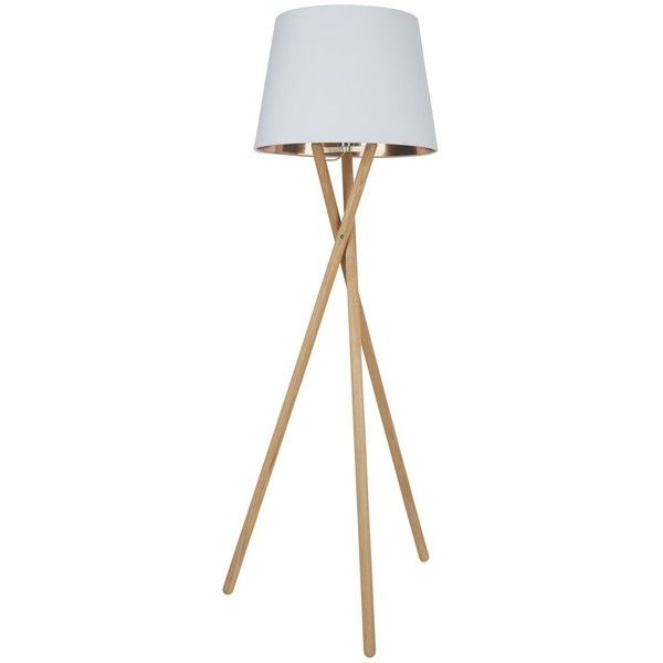 Lansbury Ash Tripod Floor Lamp With White And Copper Shade 240 Liked On Polyvore Featuring Home Lighting Copper Floor Lamp Floor Lamp Wooden Floor Lamps