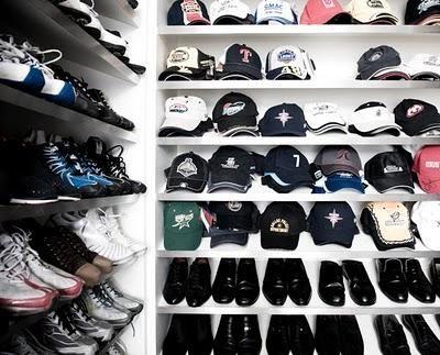 closets - Mens's closet- shoe shelves for shoes and baseball hats