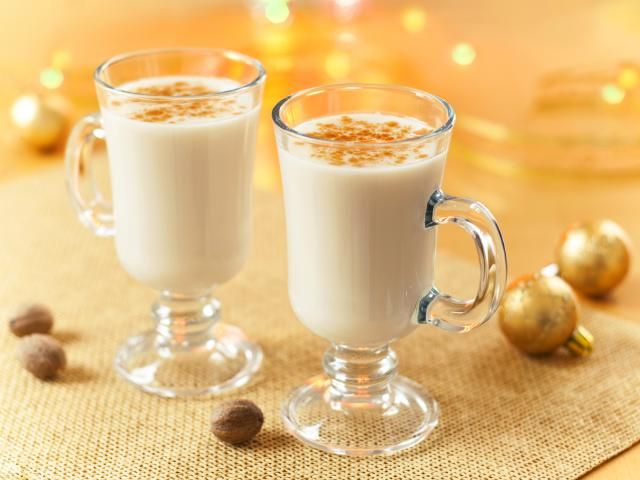 Eggnog Recipe with Brandy, Bourbon, or Rum Recipe: For safety's sake, the eggs in this eggnog version are gently cooked. Alcohol added before serving makes this a holiday favorites for adults.