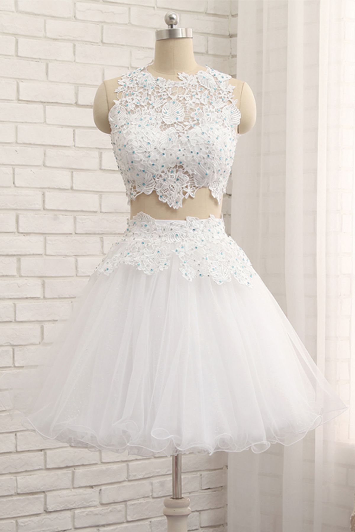 White tulle short two pieces homecoming dress lace prom dress