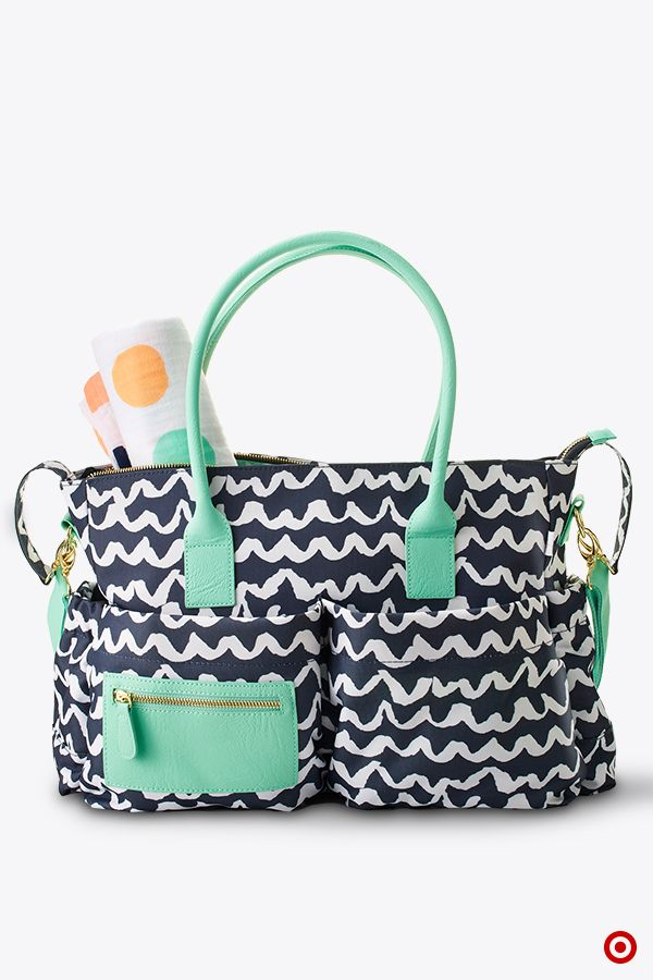 Tote Diaper Bag Features A Striking Black And White Graphic Design With Mint Accents
