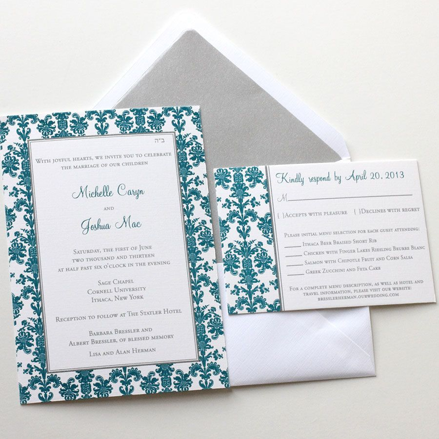 Affordable thermography wedding invitations. Teal and gray damask ...