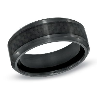 Zales Mens 8.0mm Black Enamel Inlay Titanium Wedding Band Ronhz8r4VZ