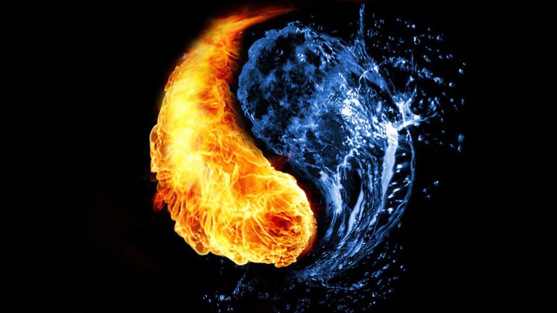 HD Quality Fire and Water Yin Yang Wallpaper SiWallpaper