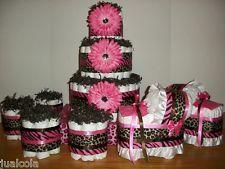 GIRL BABY SHOWER SET OF CHEETAH ZEBRA HOT PINK BROWN DIAPER CAKE BASSINET MINI