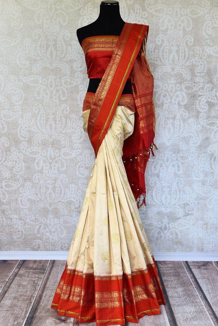 7fecb46c365e97 90D970 Off White Silk Saree with Red Pallu and Gold Buta