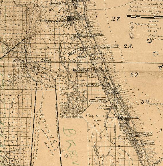 Brevard County Florida Map.Map Of Brevard County Florida 1893 Restoration Hardware Home Deco