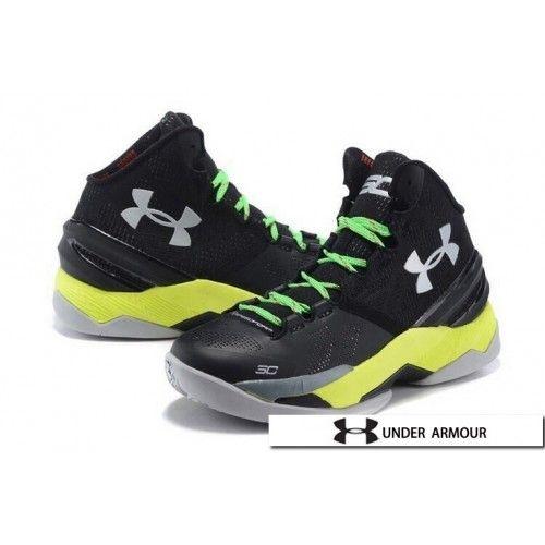 UA Curry 2 - Womens UA Curry 2 Black Green Yellow Basketball Shoes ... 3a984d900