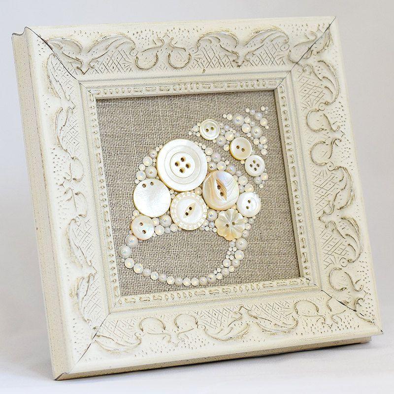 Framed Button Art - Seashell - Handmade Vintage Button Artwork, Framed Wall Art, Seashell Decor, Seashell Wall Art, Button Seashell Art by PaintedWithButtons on Etsy https://www.etsy.com/listing/241932629/framed-button-art-seashell-handmade