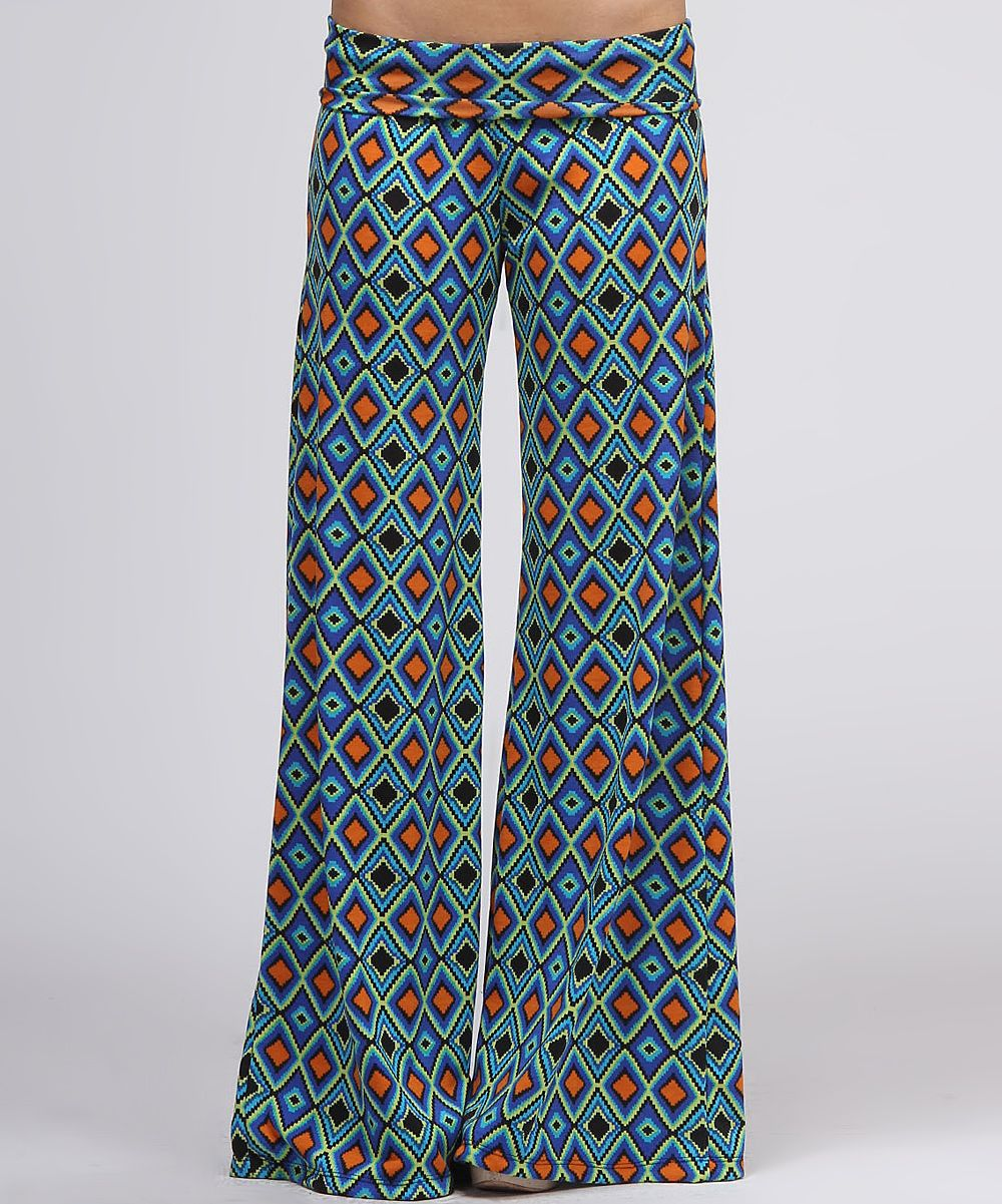 Blue & Orange Diamond Palazzo Pants   Daily deals for moms, babies and kids
