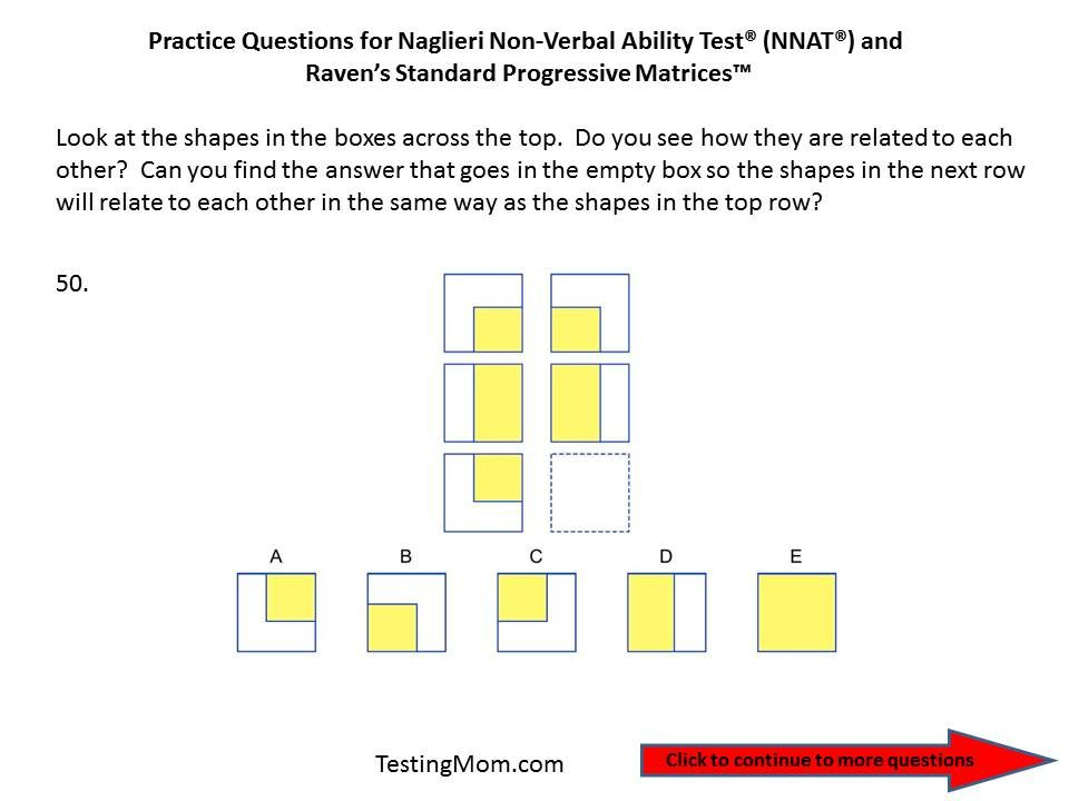 Practice questions for the Naglieri Nonverbal Ability Test (NNAT ...