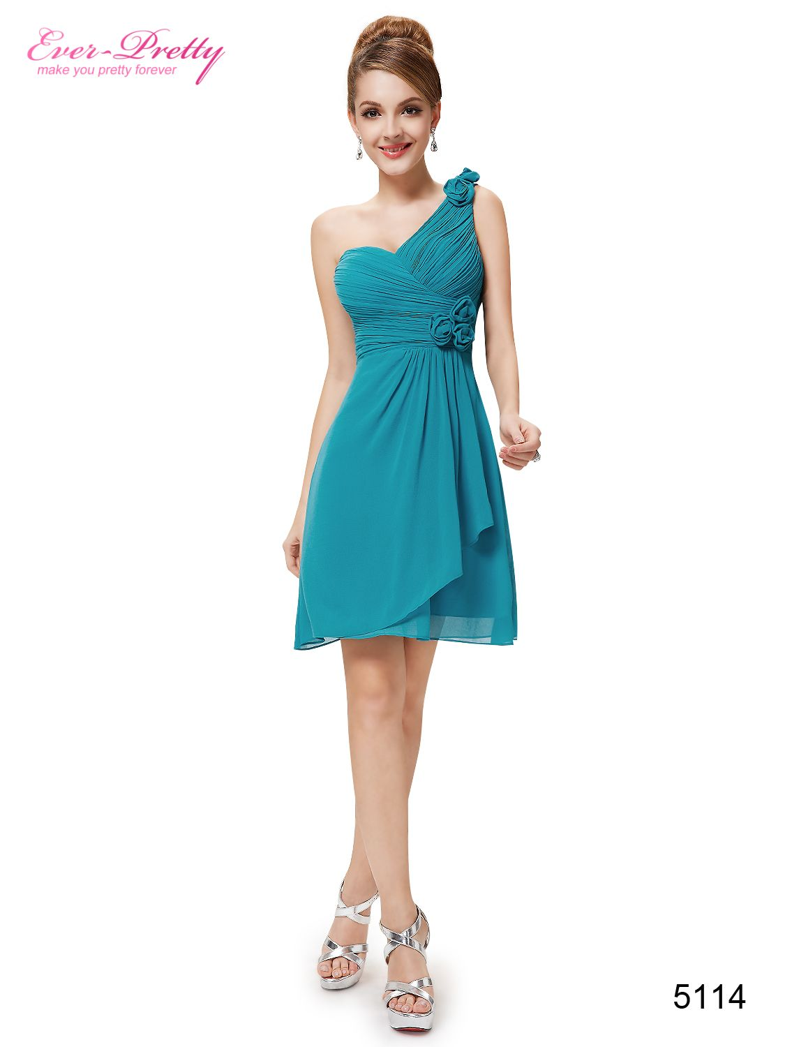 One shoulder ruched bust knee length bridesmaids dress cocktail