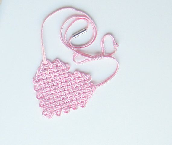 Woven pink heart by Myknotting on Etsy, $22.00