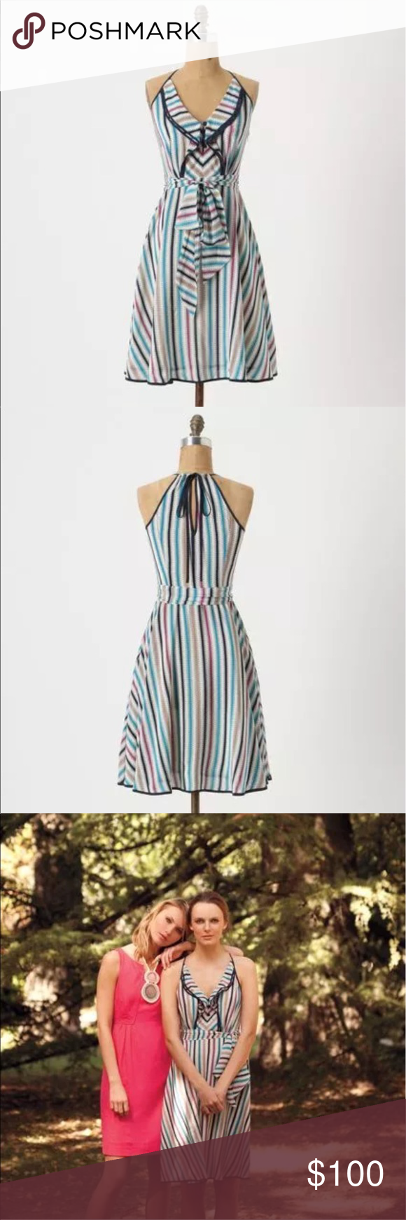 f6b86f992f076 Anthropologie Girls From Savoy Gull Wing Striped Gorgeous silk dress, great  for Mother's Day and summer weddings. Only worn once and dry cleaned.