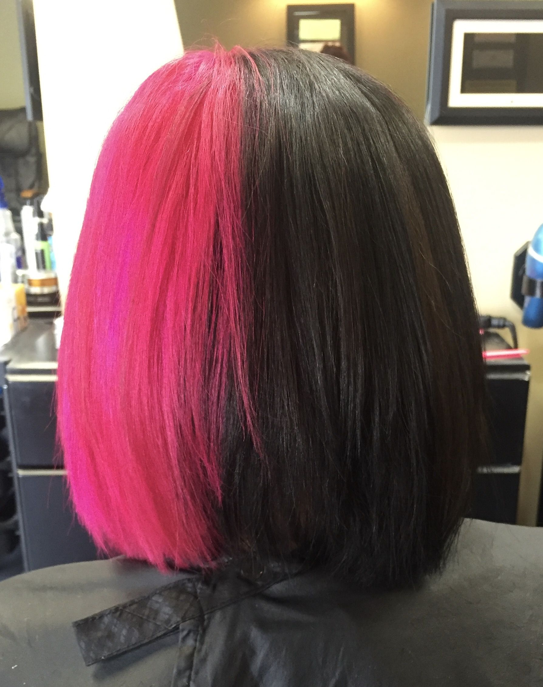 Two Tone Half And Half Black And Pink Hair Half Colored Hair Split Dyed Hair Two Color Hair