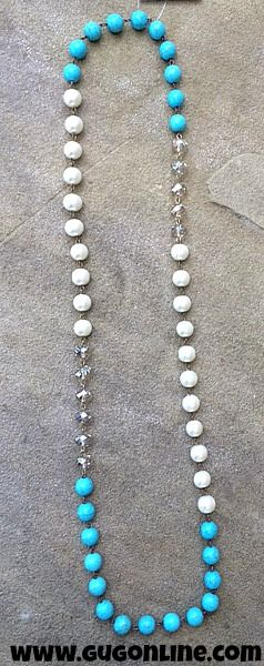 Long Turquoise, Pearl and Crystal Necklace $28.95 www.gugonline.com