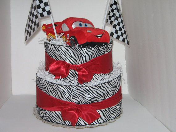 Two Layer Diaper Cake With Lightning Mcqueen Car By
