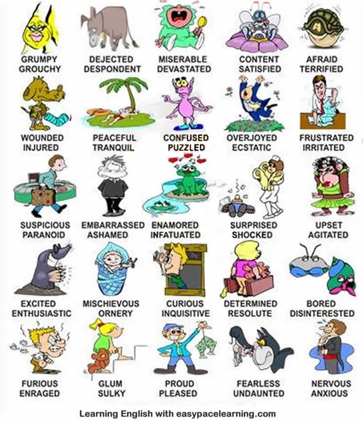 Learn about feelings and emotions using pictures and words English ...
