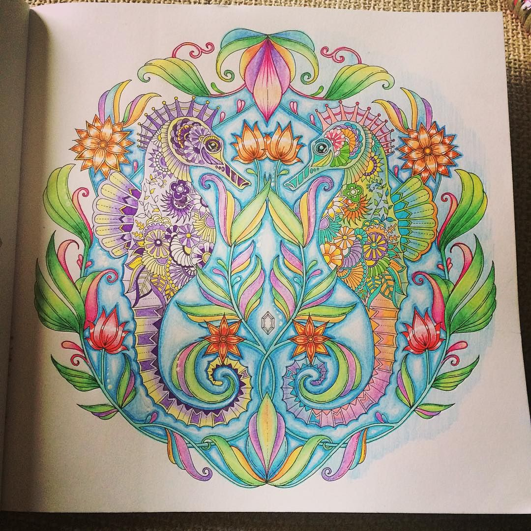 Xaomi On Instagram All Finished Johannabasford Lostocean Colour Colouringbook Col Lost Ocean Coloring Book Lost Ocean Johanna Basford Coloring Book