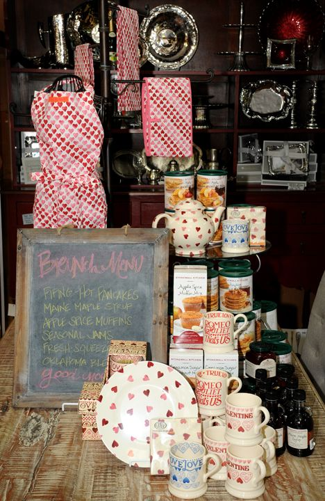 Our Valentine Brunch display featured Emma Bridgewater Pink Hearts and gourmet items from Stonewall Kitchen. Winter 2013.