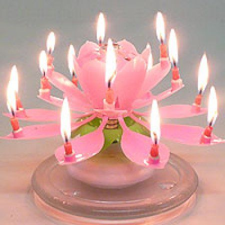 1 Pc Musical Flower Birthday Candles Pink
