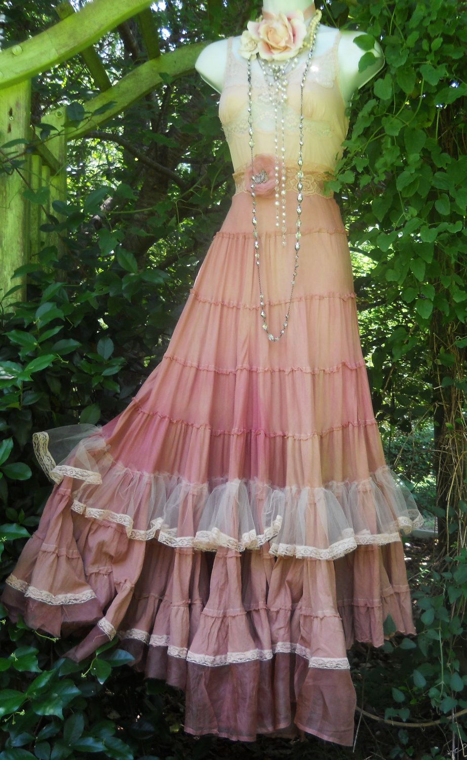 Pink boho dress maxi blush tea stained ruffles tiered cotton