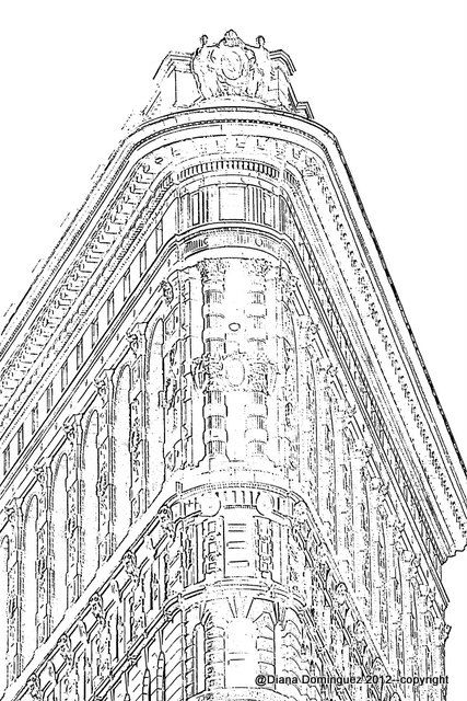 New York City Building Sketch 8x10 Abstract Drawing by ddfoto