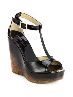 Jimmy Choo Pela Degrade Patent Leather Cork Wedge Sandals