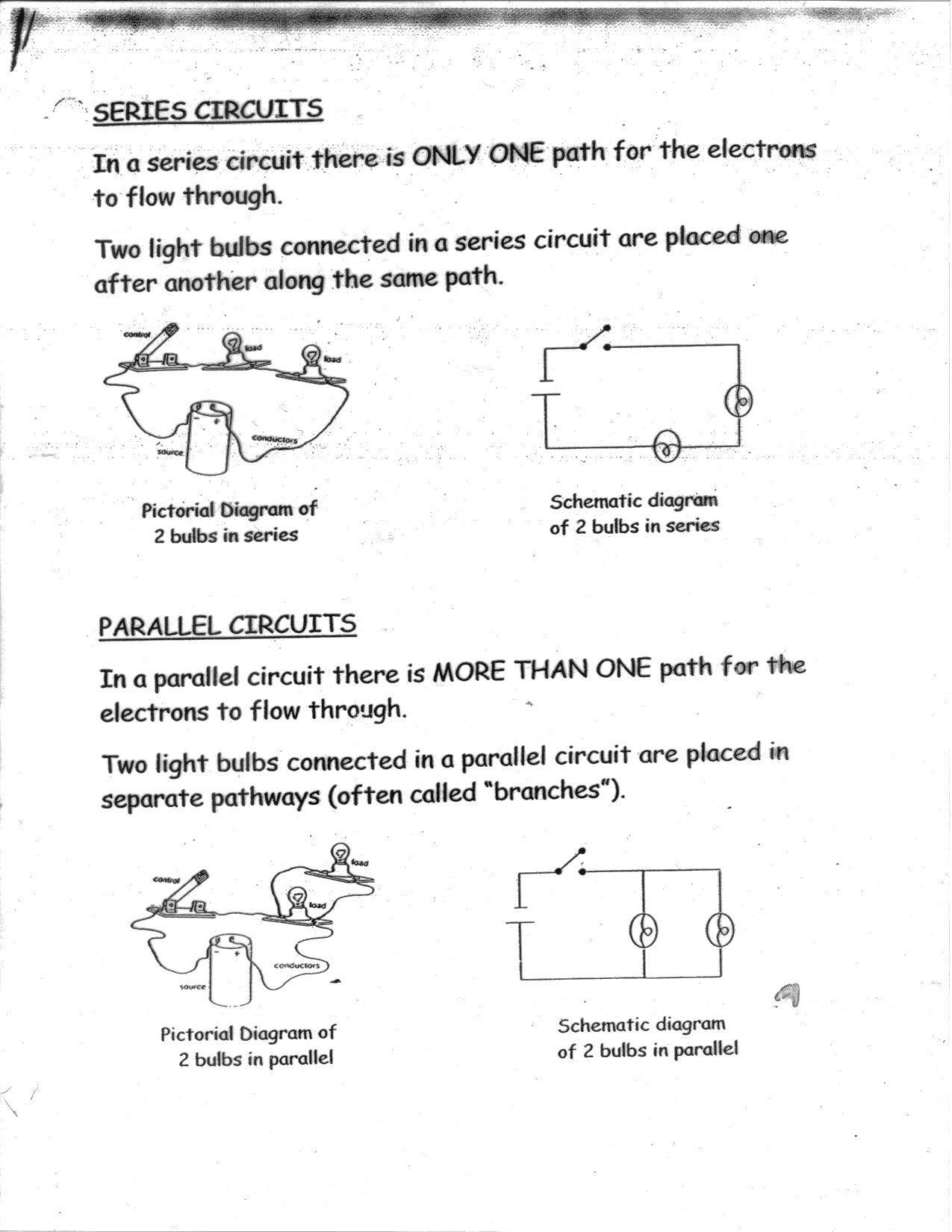 Series And Parallel Circuits Worksheet Worksheets Science
