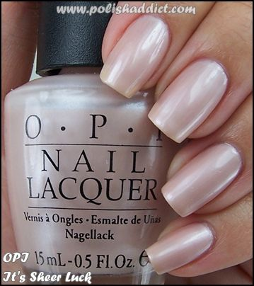OPI It's Sheer Luck is a ultra light pink toned off-white with a frost finish. This is 3 coats. This color was originally from the Las Vegas Collection (Spring/Summer 2003) but I believe it became part of the main Soft Shades Collection all of which are available on an on going basis.