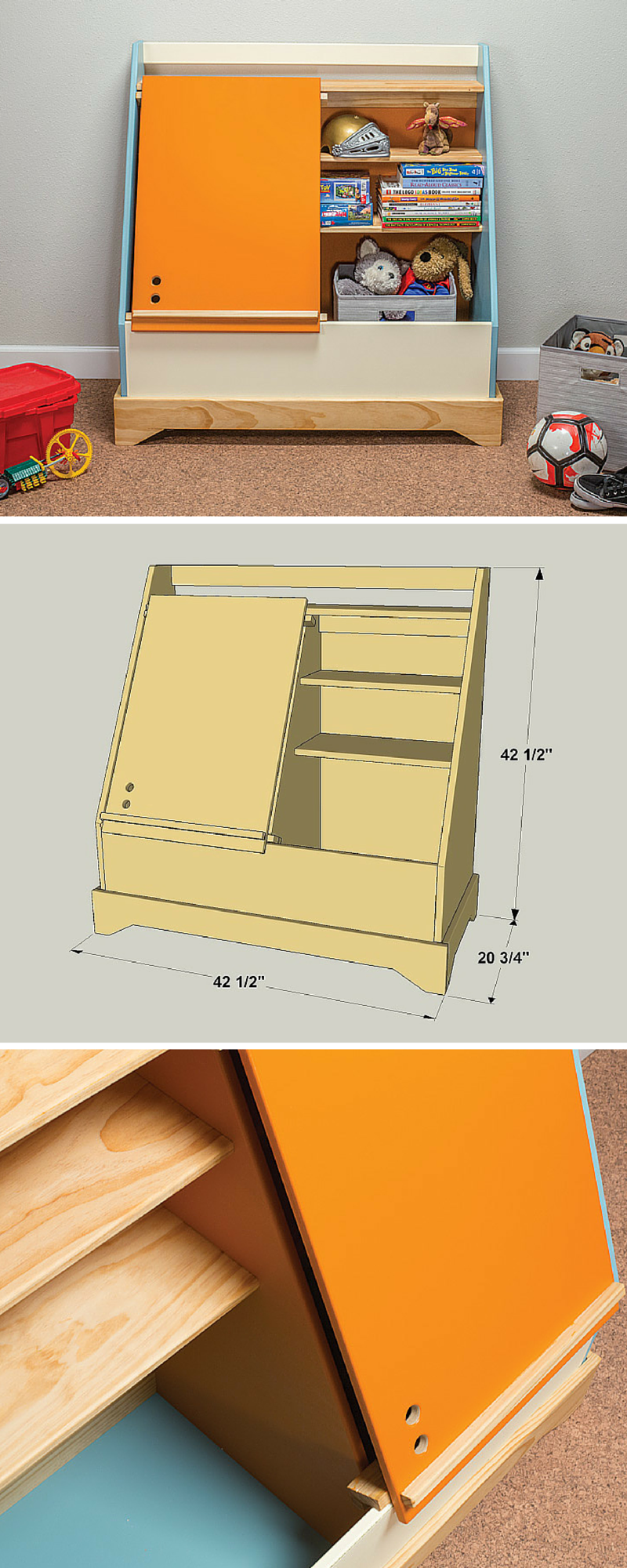 Here S A Cool Twist On A Traditional Toy Box This One Offers Lots Of Storage Space Has Shelves Inside To Help Keep Diy Toy Box Toy Box Plans Diy Toy Storage