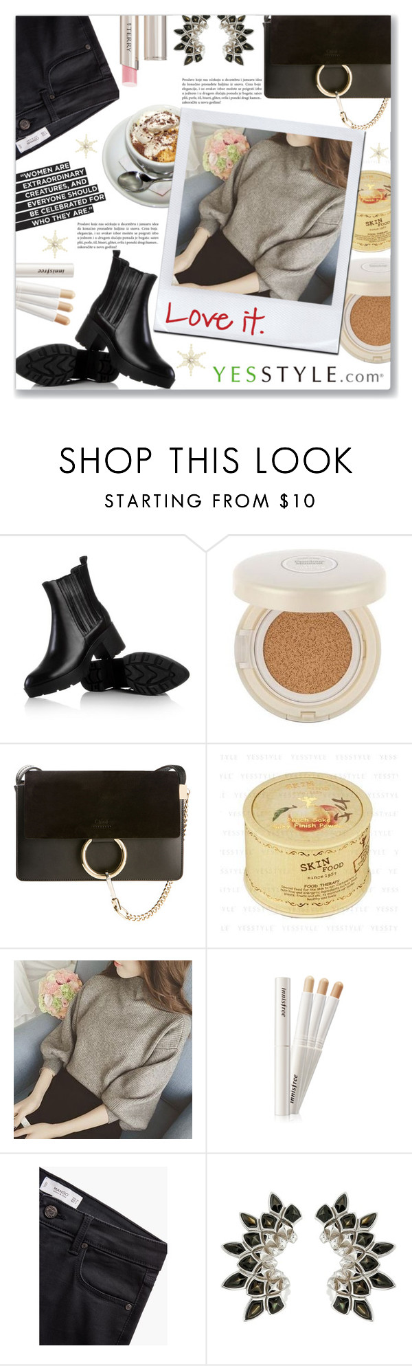 """YesStyle Polyvore Group "" Show us your YesStyle """" by dressedbyrose ❤ liked on Polyvore featuring JY Shoes, Chloé, MANGO, Stephen Webster, By Terry, women's clothing, women's fashion, women, female and woman"