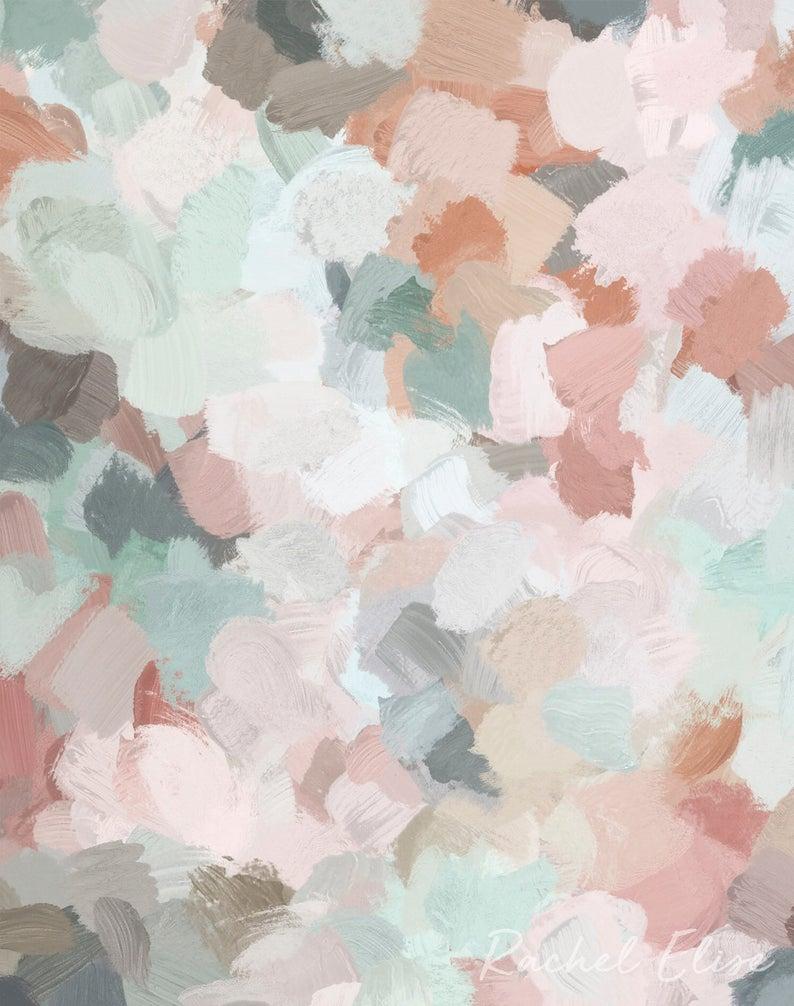 Blush Pink Mint Green Blue Coral Peach Abstract Flower Wall Art, Printable Art, Springtime Painting Print, Modern Wall Art, Digital Print