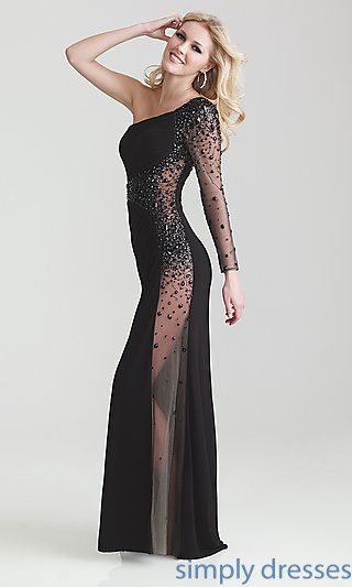 Shop See Through Beaded Black Dresses With One Shoulder Long Sleeve