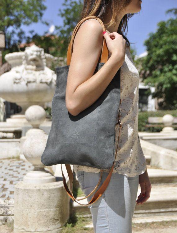 4b2ae0afb6b OFFER Leather bag grey leather bag woman bag door SANTIbagsandcases Zomer  Zakken, Groen Leer,