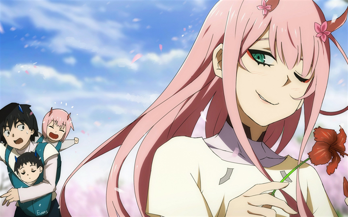 Download wallpapers Darling In The Frankxx, Zero Two, Hiro