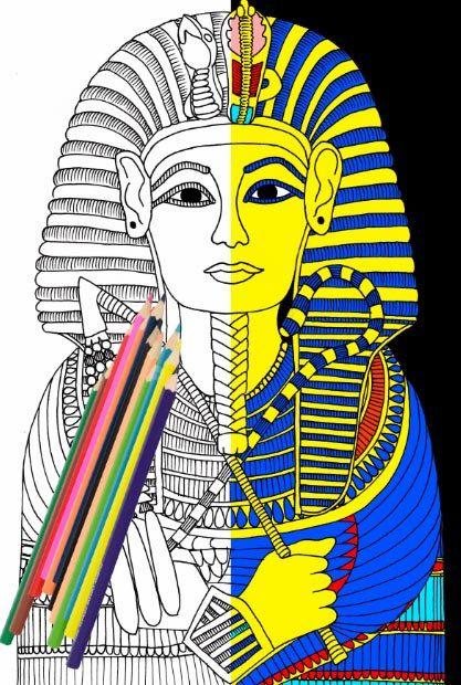 Adult Coloring Page Pharaoh Tutankhamun King Tut By Freienthurn King Tut Coloring Page