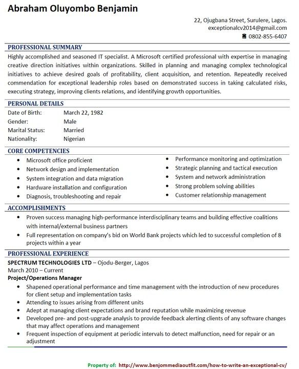 Image Result For Cv Format In Nigeria (With Images)