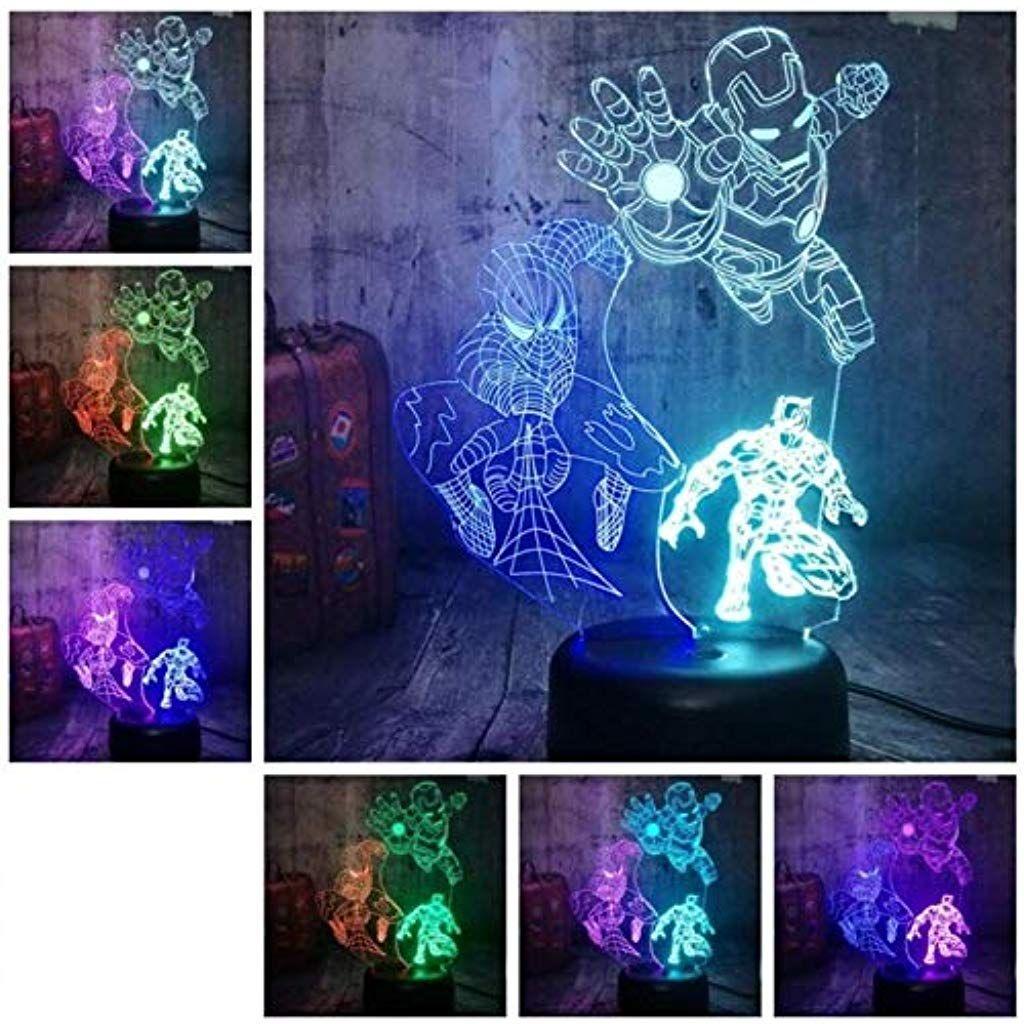 Wsxyd 3d Nachtlicht Spider Man Iron Man Panther 3d Led Nachtlicht Mix Zweifarbig 7 Farbig Schlaf Tischleuchte Home Decoration Weihnachtsge Nachtlicht Led Licht